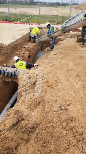 This week, buried 3m underground and encased in 50cm of solid concrete, the duct bank for our datacentre was installed.