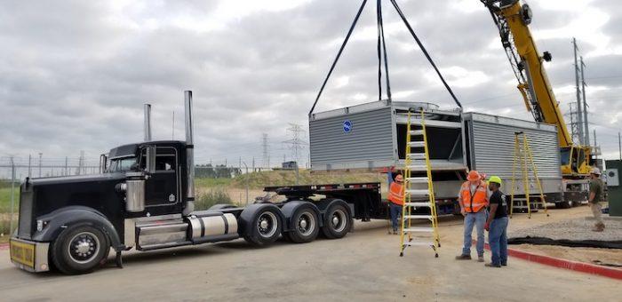 Several big silver large semi-trailer truck